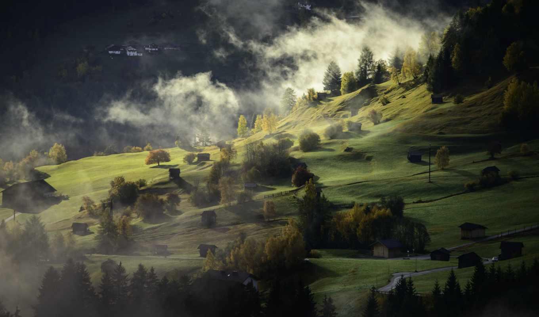 деревня, туман, landscape, осень, free, pixabay, photos,