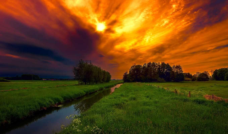 небо, закат, mobile, sunsets, поле, high, wide, картинка, ipad,
