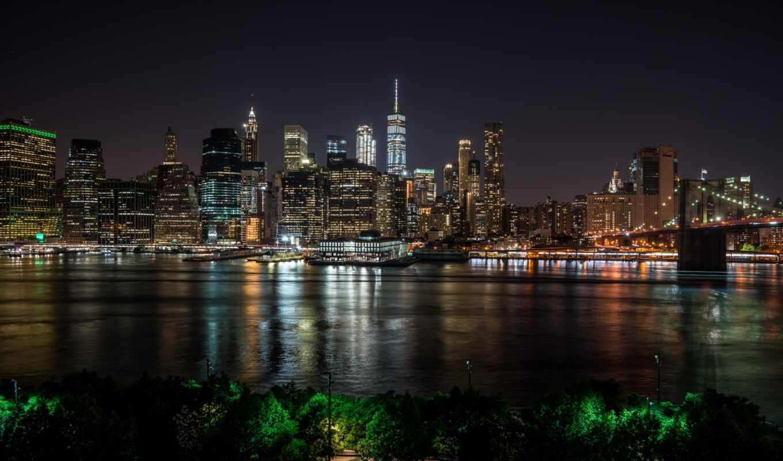 york, new, мост, бруклин, park, ночь, город, usa, skyline, нью