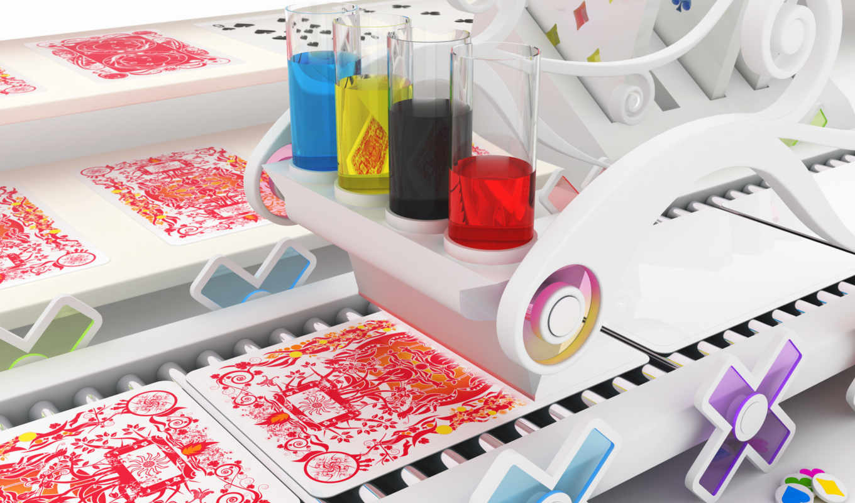 printing, конвейер, special, краски, красный, карты, узор, abstract,
