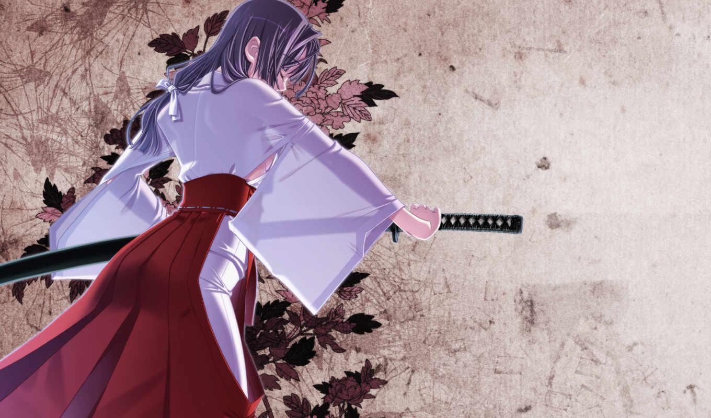 hair, anime, hiiragi, bra, long, katana, japanese, clothes, ryo, original, black, sword, sakuya, tsuitachi, tags, similar, ribbons, through, see,