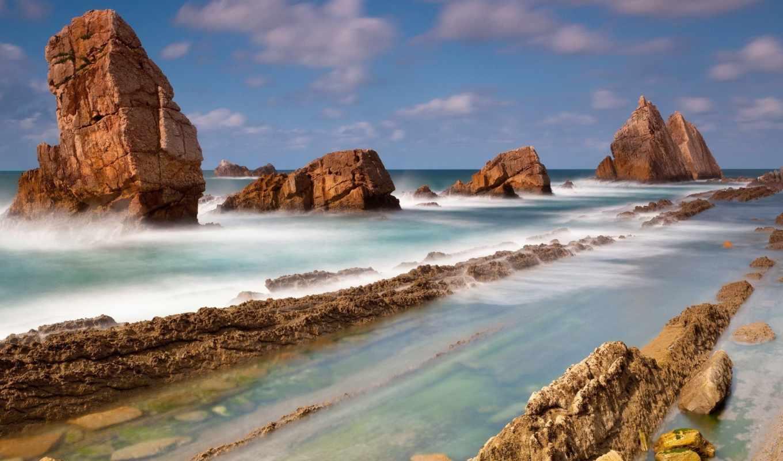 камни, море, пейзаж, океан, природа, картинка, выступы, сотня, вода,
