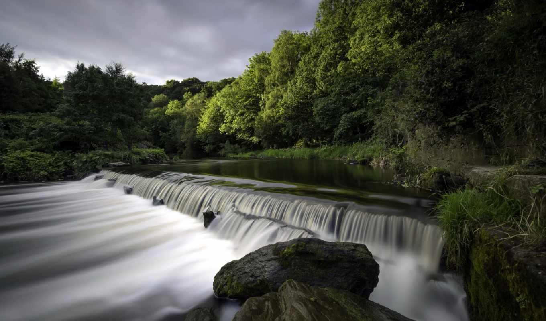 пейзаж, природа, река, водопад,