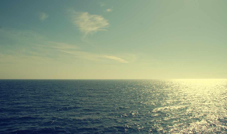 море, облака, горизонт, sun, water, свечение, волны,