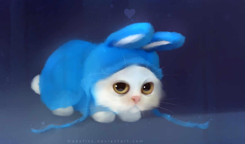 bunny, рисунок, котик, cute, apofiss, костюм, wide, кот, котенок,