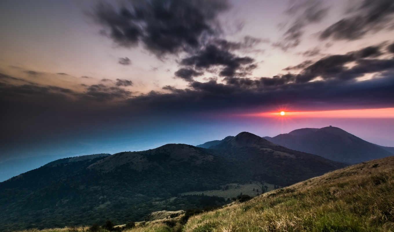 ,природа, уголками, горы, закат