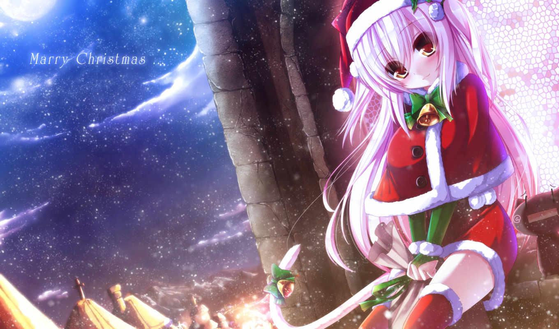 christmas, anime, shia, similar, syroh, hair, девушка, city, catgirl, настроение, хвост, ears, bow, animal, colors, away, kirya, long, радость, ночь, snow, hat, clouds, art,