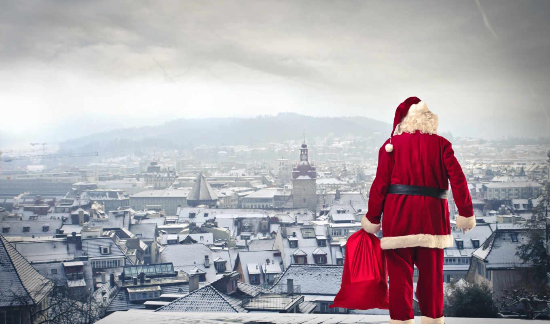 год, new, праздники, winter, иней, дед, города, шарики,