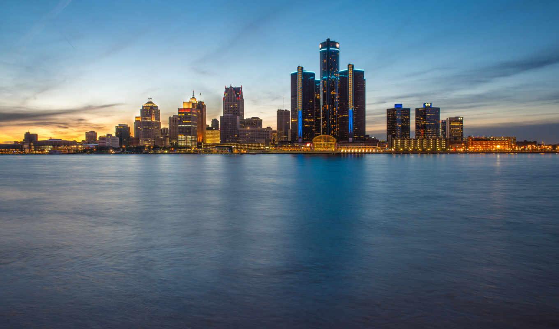skyline, detroit, фотопанно, blue, hour, alcatel, от, город, windsor, онтарио, вечер,