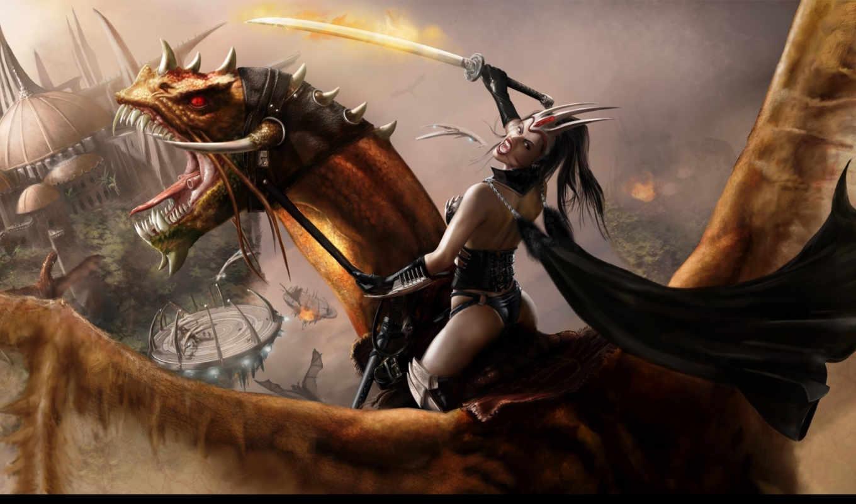 девушка, дракон, castle, attack, меч, revised, рассвет,