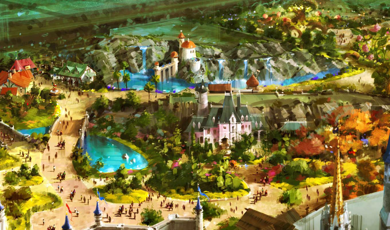 фантастика, castle, рисунок, fantasy, art, город, carnival,