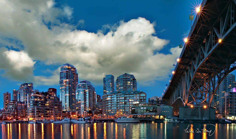 мост, город, огни, architecture, широкоформатные, полёта, rylik,