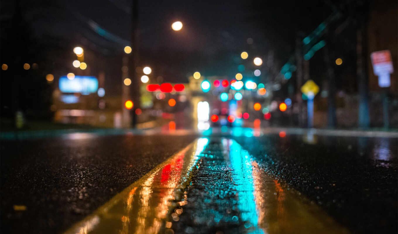 дождь, огни, асфальт, noch, свет, город, дорога, боке, улица, makro,