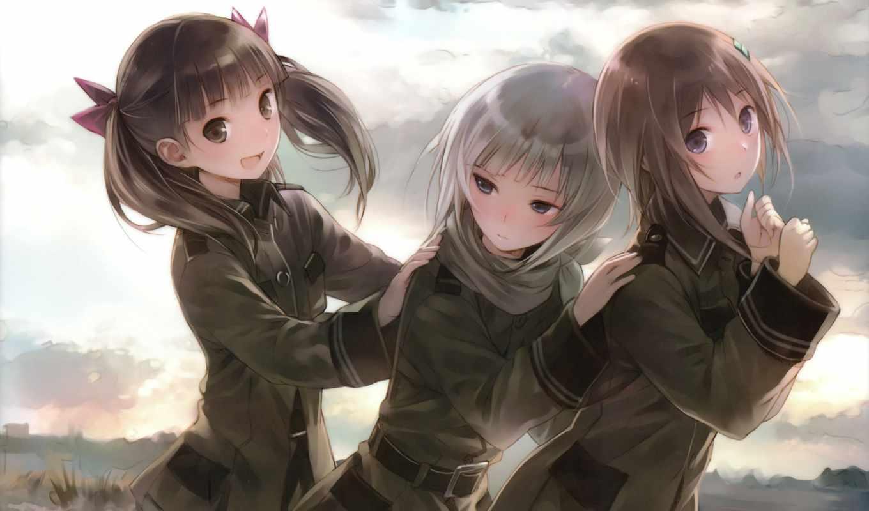 anime, небес, девочки, подружки, звуки, но, трио,