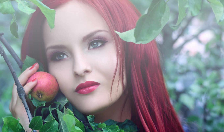 девушка, яблоко, волосы, красные, rehead, картинка,