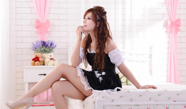 горничная, сексуальная, girls, азиатка, великолепными, ножками, sexy, рыженькая, постели, women, комнате, платье, asian, pics, подборка, имеет, girl,