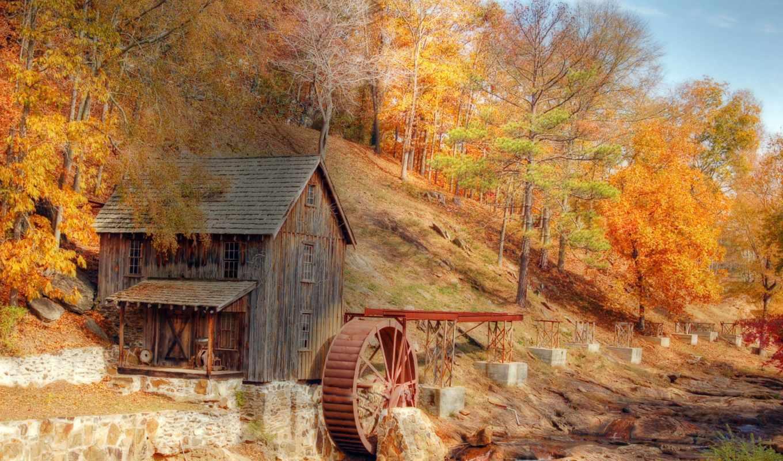 мельница, осень, природа, речка, проблем, без, этом, всяких, картинок,