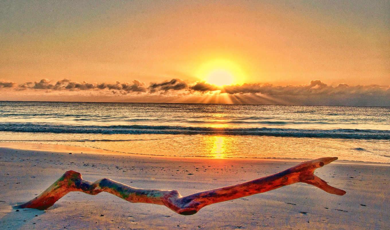берег, море, закат, красивые, pictures, пейзаж, clouds, sand, sun,