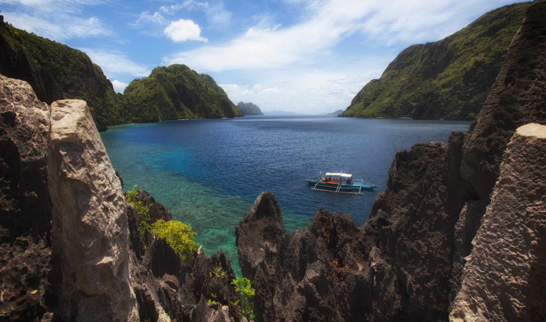 nido, palawan, filipiny, morze, góry, philippines, skały,