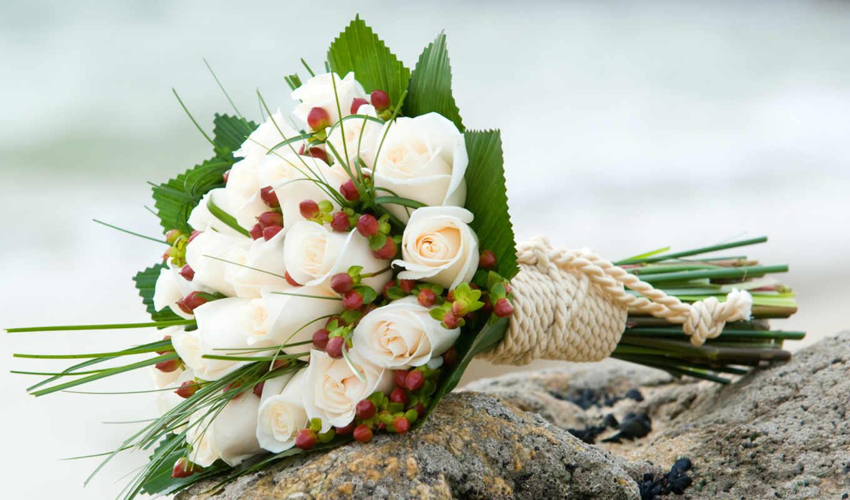 букет, роз, белых, розы, белые, цветы,
