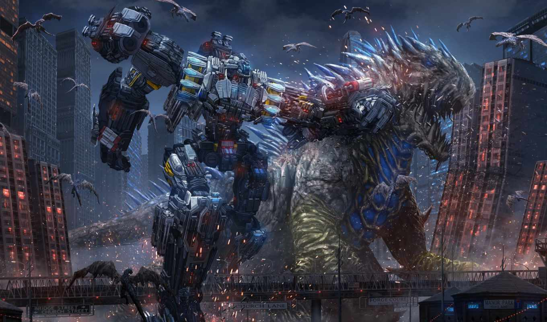 город, art, битва, cyberpunk, robot, мегаполис, фантастика, монстры, гиганты, пришельцы,