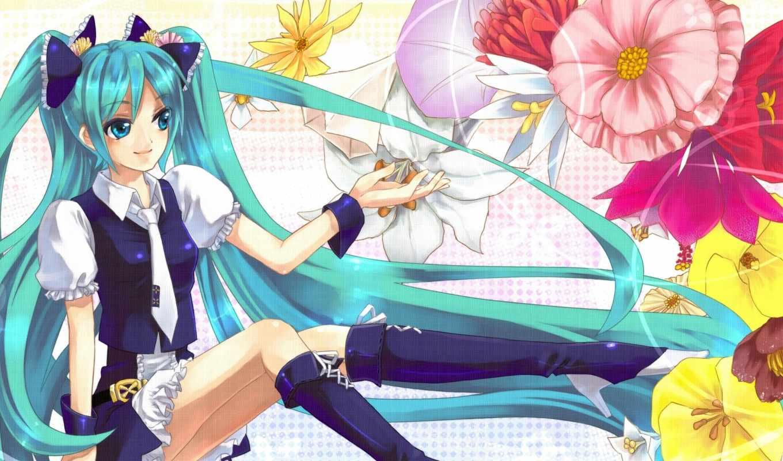 hatsune, miku, sweetheart, девушка, anime, улыбка,