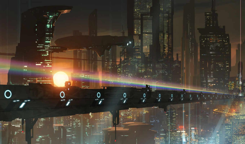 город, мегаполис, будущее, арт, транспорт, мост, ф