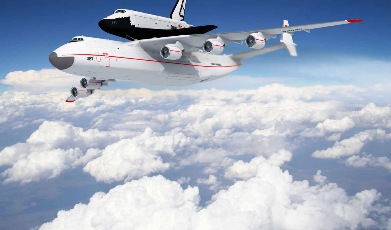 облака, совершенно, широкоформатные, картинка, самолёт, авиация, полет, буран, shuttle, энергия, carrier, челноком,