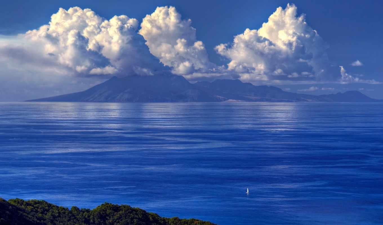 море, sailboat, небо, корабль,