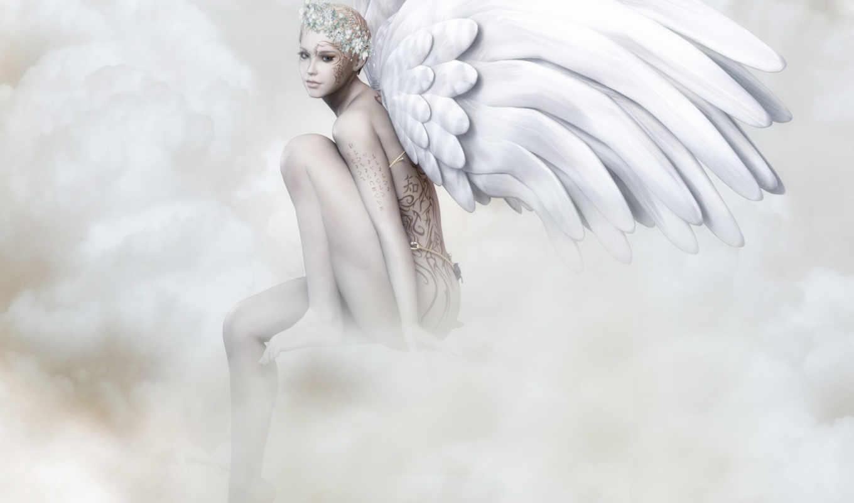 angel, rendering, крылья, девушка, смотреть,