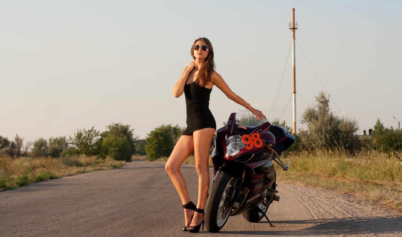 девушка, платье, devushki, коротком, черном, мотоциклом, suzuki, possible,