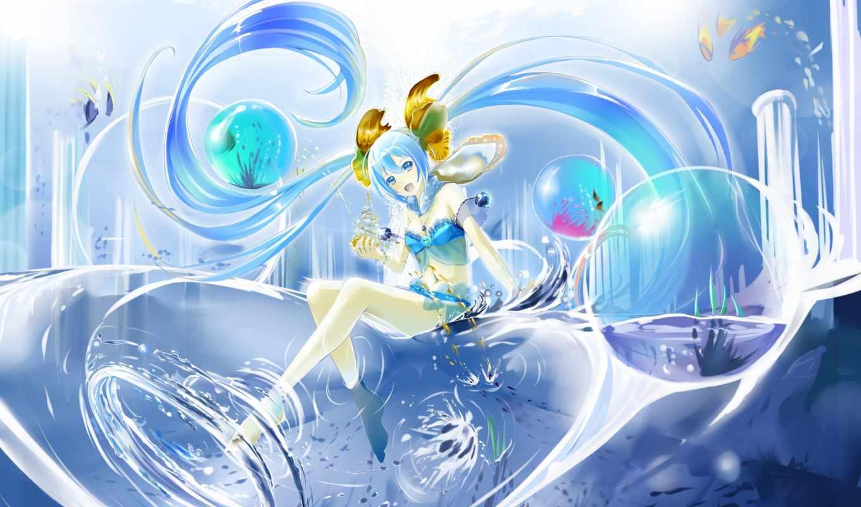 miku, hatsune, vocaloid, water, blue, fish, волосы, kyaro, eyes, платье,
