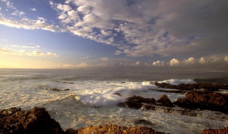 волны, море, облака, берег, wallpapers, картинка, hd, part, nature, photos, wide, wallpaper, california, картинку, en, ipad, sky,