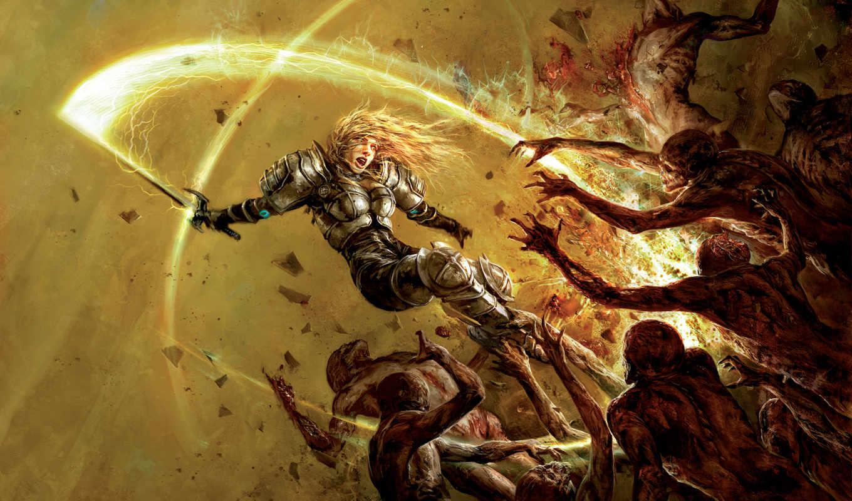 london, hellgate, воин, кровь, девушка, меч, доспехи, монстры, воители, сражения, games, battle, фэнтези,