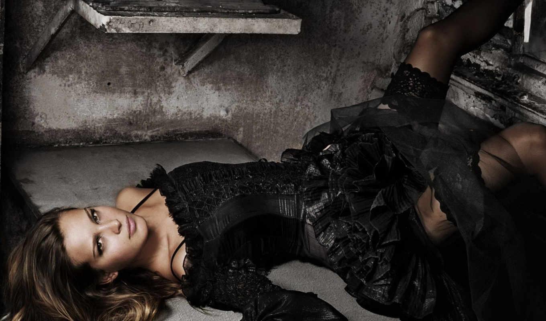 girls, платье, чёрное, лежит, взгляд, brunette, dark, nemcova, petra,
