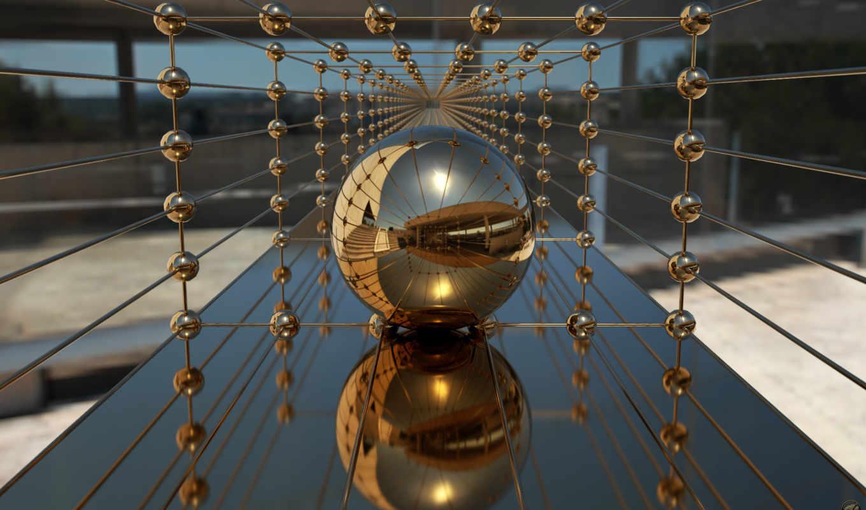 отражение, шар, плоскость, gold, golden, balls, study, графика, коллекция,