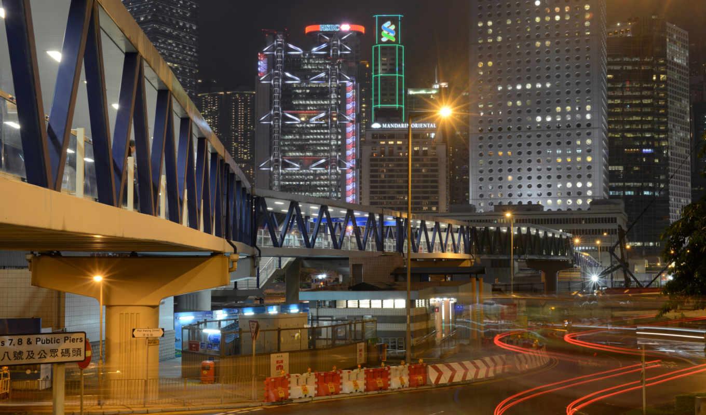 улица, реклама, огни, гонконг, ночь, мост,