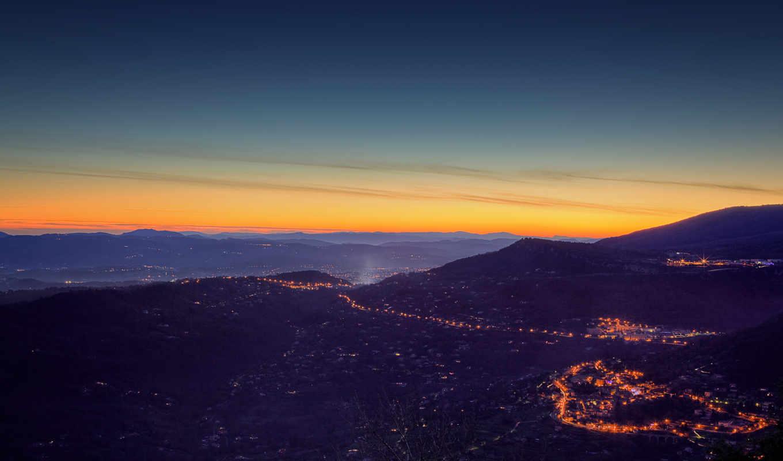 закат, пейзаж, горы, город, вечерний, панорамный, небо, природа,