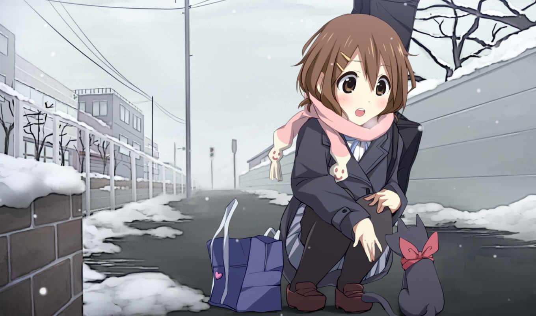 зима, снег, дорога, шарфик, гитара, улица, дома, доброта, аниме, brown, hair, часть,