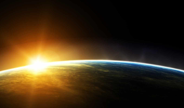 космос, солнце, земля, cosmos, download, планета, восход,