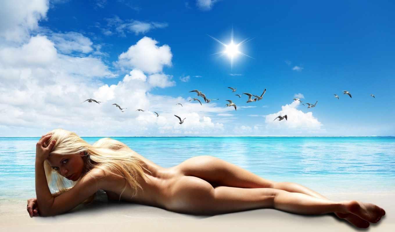 море, чайки, девушка, блонди, пляж,