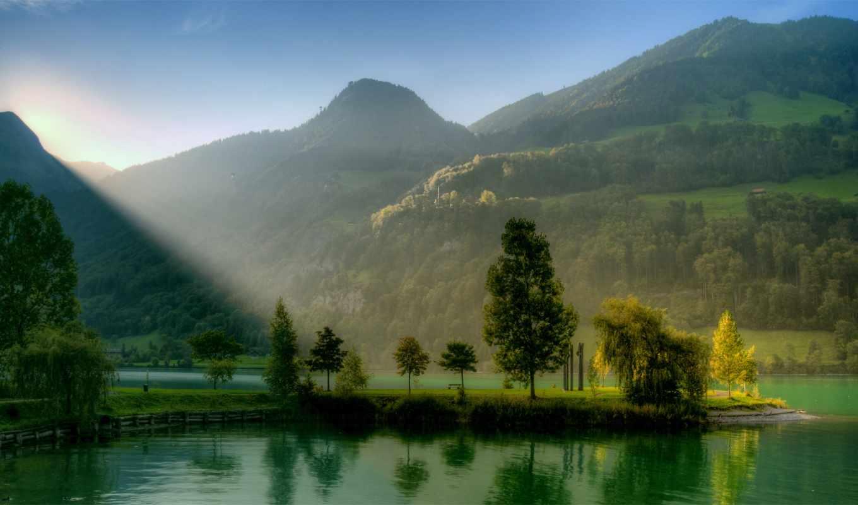 река, деревья, горы, природа, зелень,
