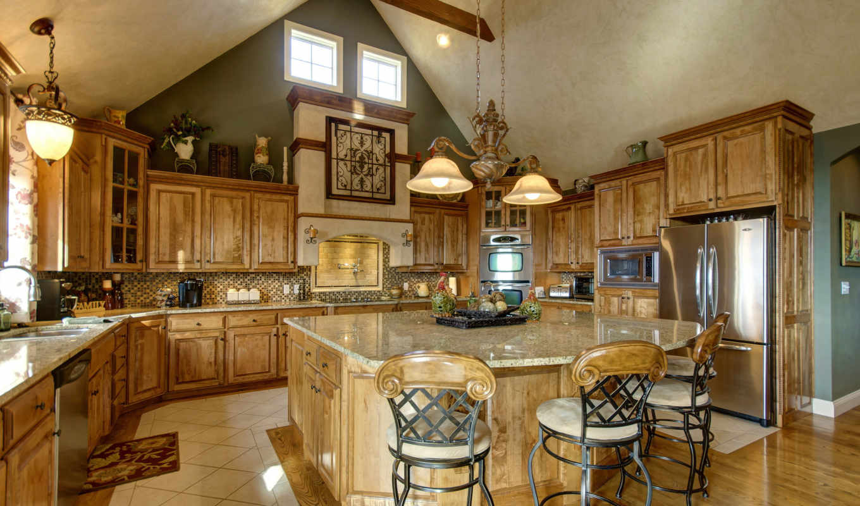 интерьер, деревянный, дизайн, кухня, стулья,
