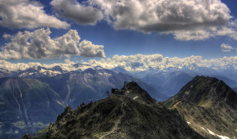облака, горы, пейзажи -, mountains, clouds, landscapes, небо, природа,