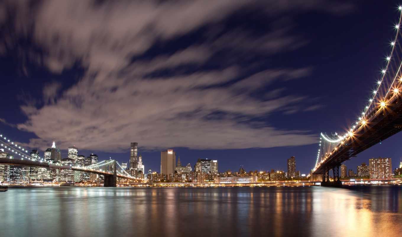 нью, york, new, бруклин, город, мост, usa,