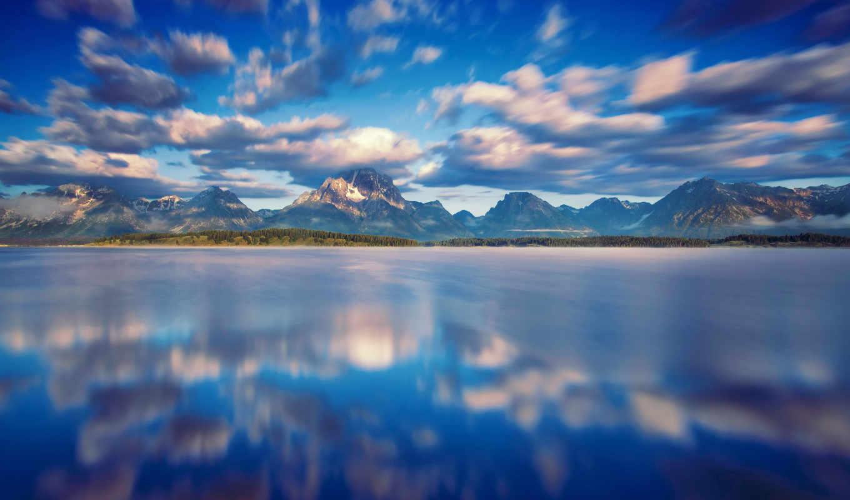 voda, отражение, небо, ozero, kartinka, oblaka, горы,