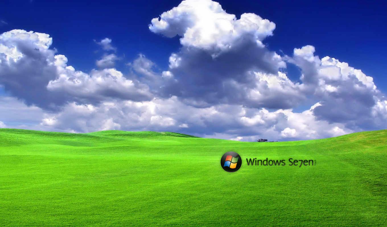 windows, se7en, лого, поле, небо, облака