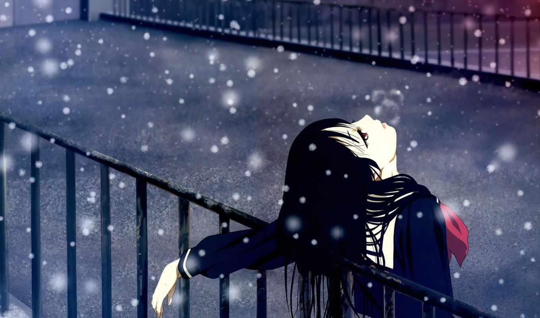 winter, девушка, anime, снегопад, amino, brunette, картинка, зонтик, волосы, грустная, радость,