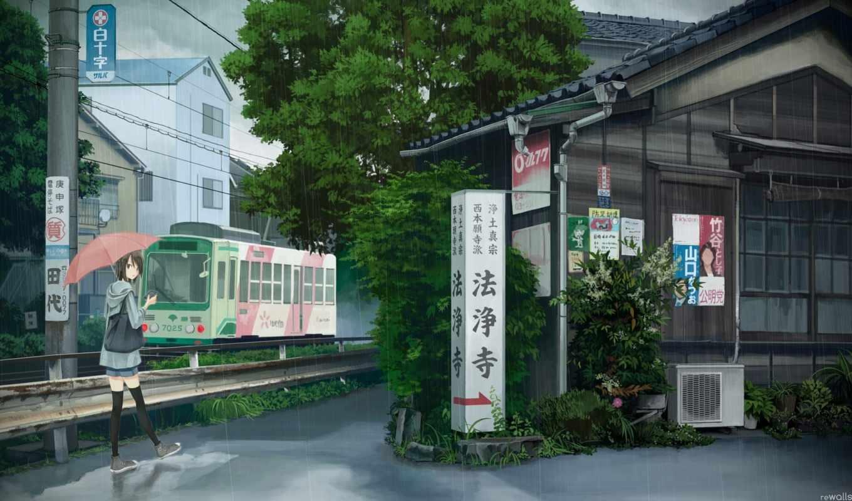 аниме, зонтик, обои, дождь, девушка, трамвай, горо