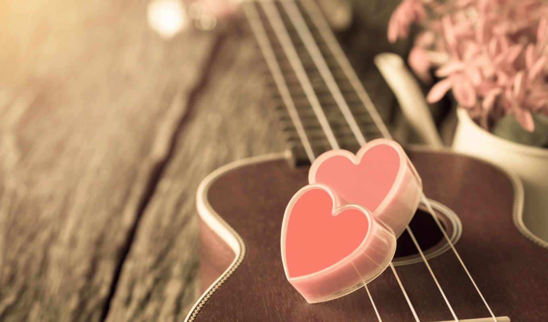 гитара, розовый, сердце, цветы, лавка